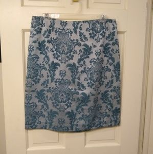 "Merona blue size 8 tapestry-like 21"" length skirt"